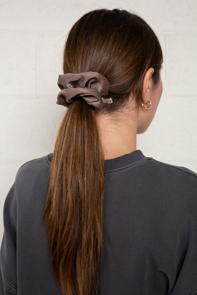 Satin Scrunchie - Washed Brown