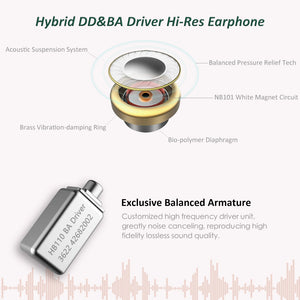 Surfans SE01 IEM Headphone, High-Res Lossless Hybrid Driver in-Ear Monitors Earphone, Noise Isolating Deep Bass Wired Earbuds with 0.78mm 2pin Detachable Cable …