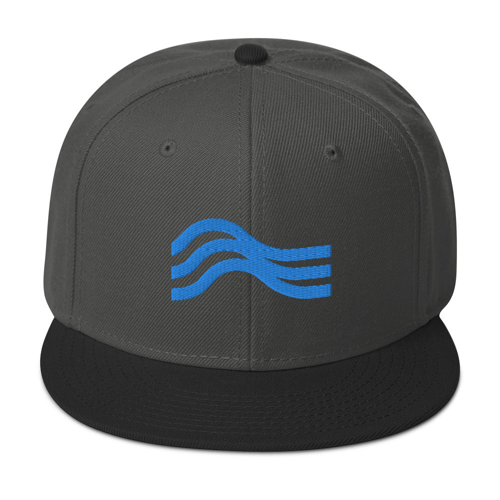 Snapback Hat Stealth Powder Blue Emblem
