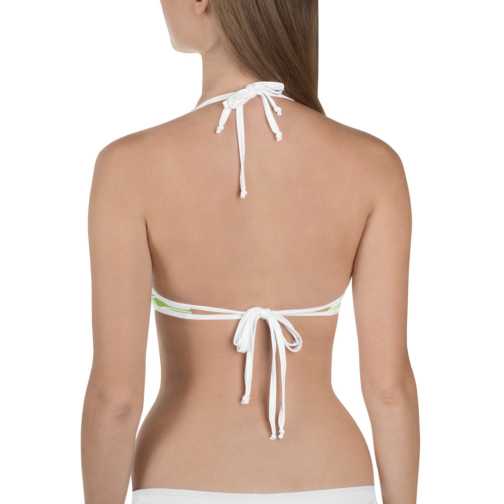 Womens Mint/White Stripes Bikini Top