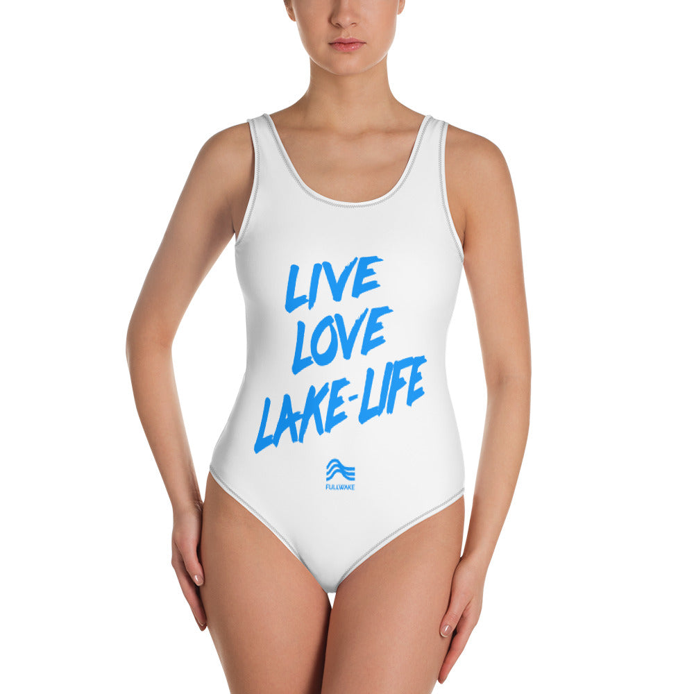 Womens LLL Powder Blue/White 1-Piece Swimsuit