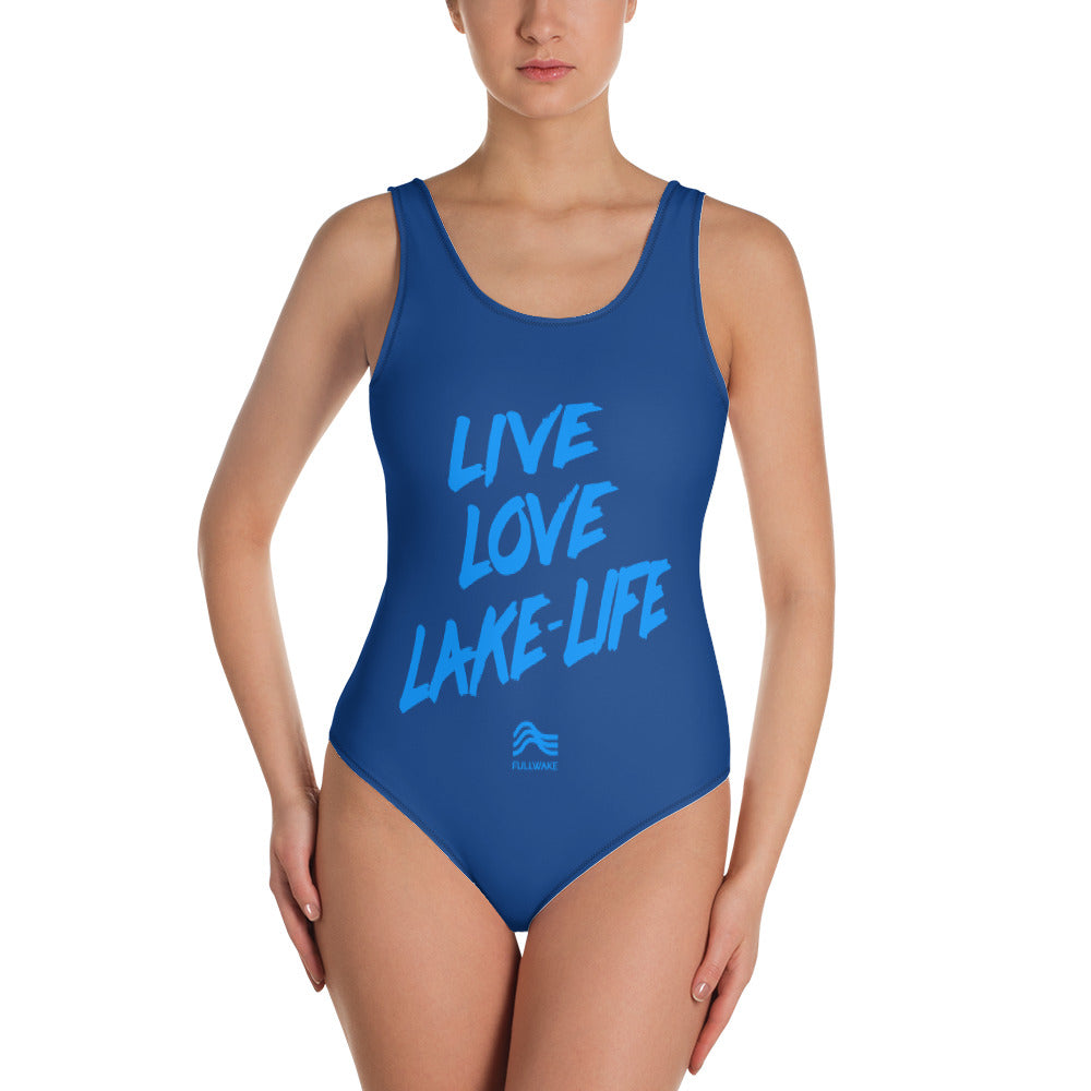 Womens LLL Powder Blue/Navy 1-Piece Swimsuit