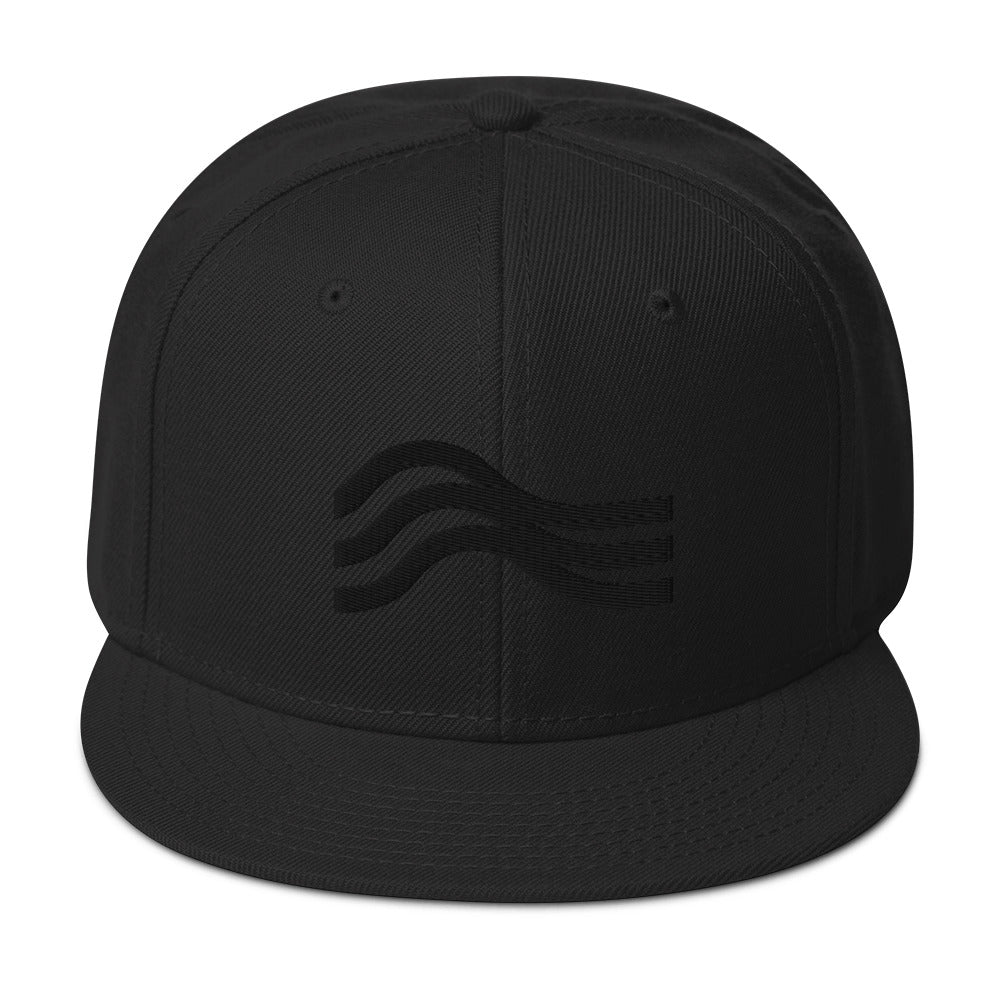 Snapback Hat Stealth Black Emblem