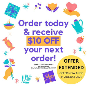Order today and receive $10 off your next order!