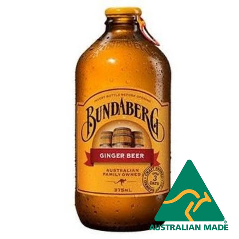 Ginger Beer Glass Bottle 24 x 375ml Bundaberg *Extra lge box cant get in supermarkets