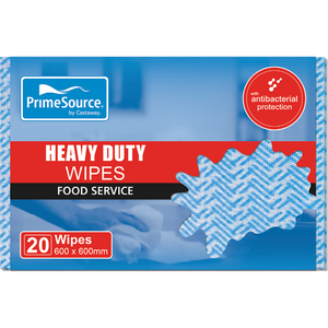 Wipes Sheets Blue Heavy Duty 20s 60cm x 60cm Prime Source Antibacterial protection