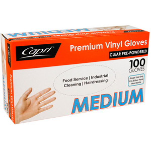 Gloves Clear Vinyl Medium Powdered  100s Capri