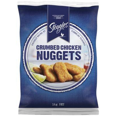 Chicken Nuggets Crumbed 1kg Frozen Steggles 50 pieces