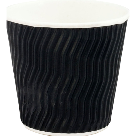 Coffee Cup Paper Black Cool Wave Design Double Wall 8oz 25's