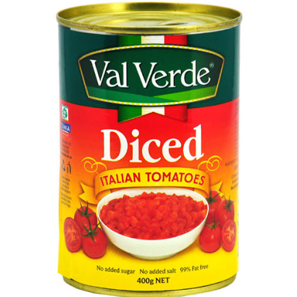Tomatoes Diced Crushed Canned 400g Valverde
