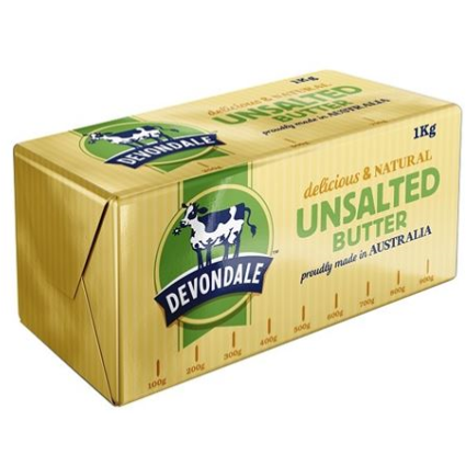 Butter Unsalted 1kg Devondale **Value Buy