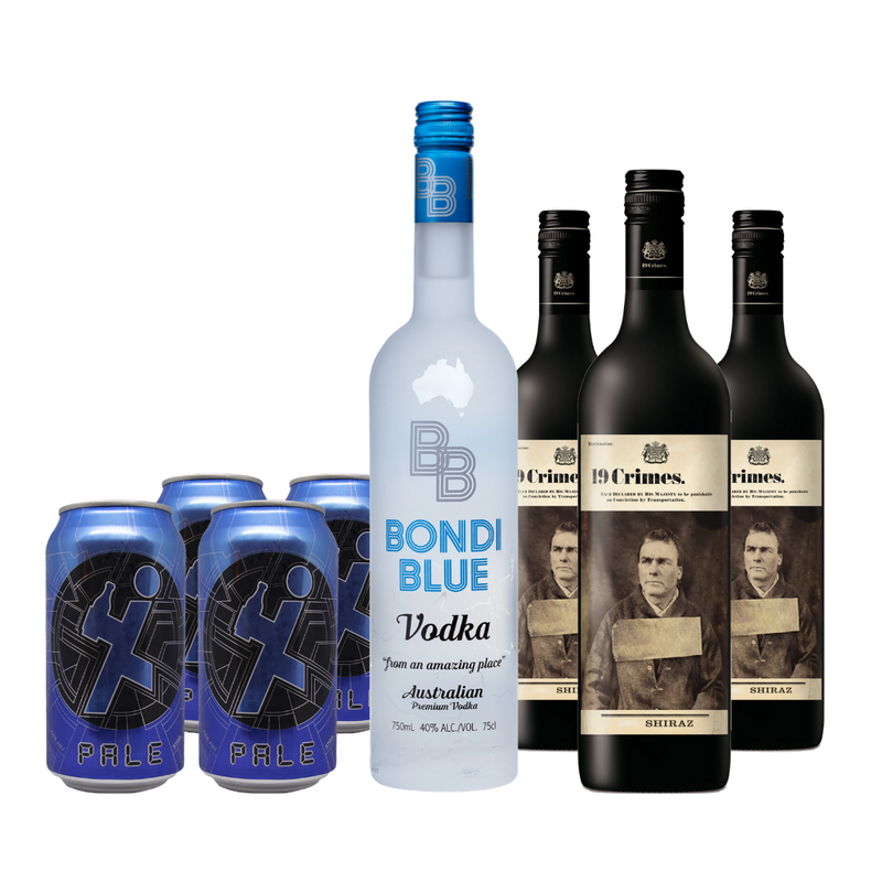 Bondi Blue Vodka + 19 Crimes Shiraz + Exit Pale Ale