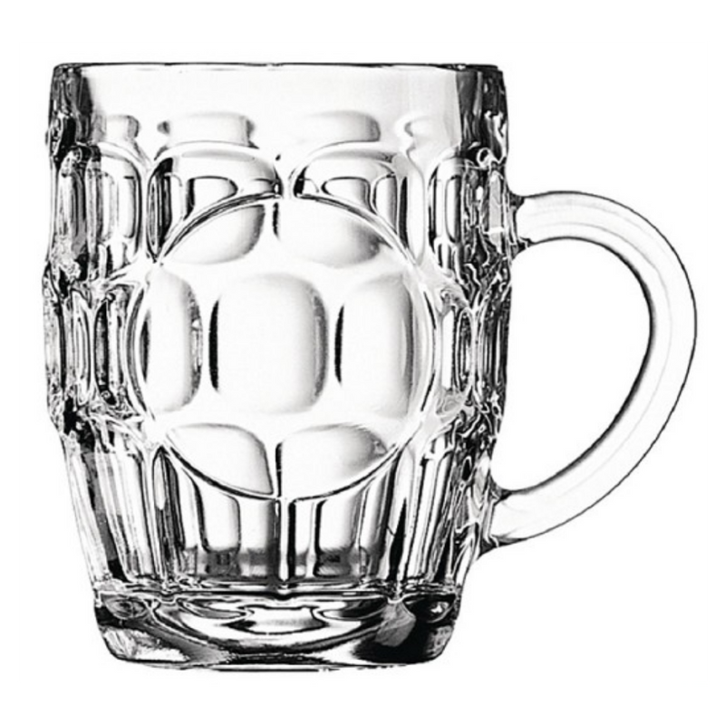 Pubble Alcohol Delivery-Arcoroc Dimple Britannia Beer Mug with Handle 285ml x 6-Pubble Alcohol Delivery