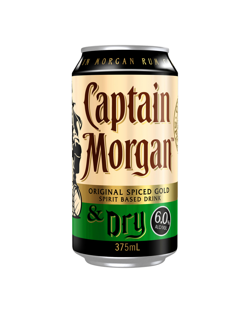Captain Morgan Original Spiced Gold & Dry 375ml x 4