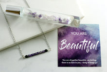 "Load image into Gallery viewer, ""You are Beautiful"" Amethyst Gemstone Roller bottle & Necklace set"