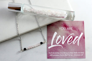 You are Loved - Rose Quartz Gemstone Roller bottle & Necklace set