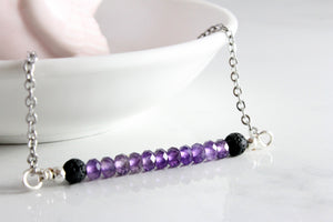 """You are Beautiful"" Amethyst Gemstone Roller bottle & Necklace set"
