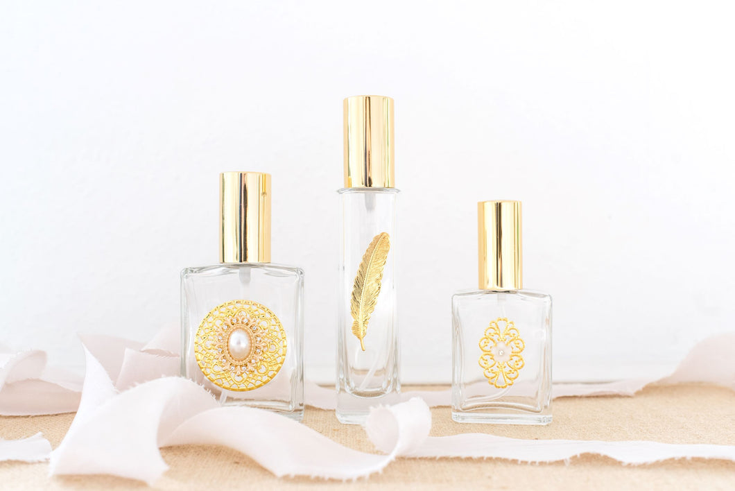 The Essence of Elegance, GOLD Trio of Perfume Bottle Spritzers
