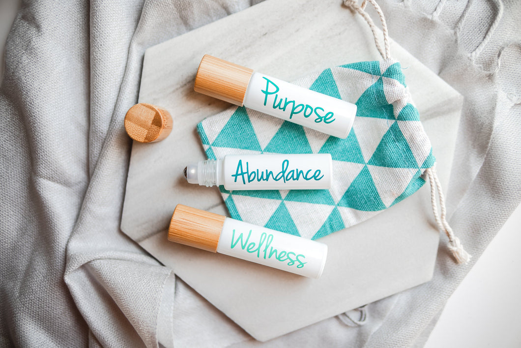 Wellness Roller bottle Set with bamboo caps