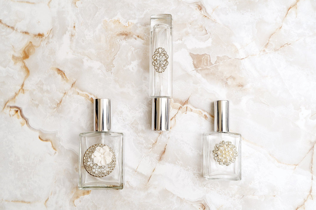 The Essence of Elegance, SILVER Trio of Perfume Bottle Spritzers