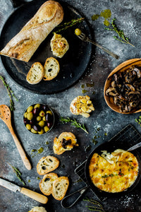 Roasted Garlic, Camembert Cheese (to warm in your oven!), Bruschetta, Marinated Olives