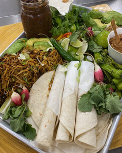 Fun with Fajitas - Your Choice of Beef, Tuna, Chicken or Black Beans, Sweet Potato & Mushroom - Flour Tortillas, Avocado, Grilled Sweet Peppers, Shishitos, Red Onions, Roasted Vegetable Salsa, Sour Cream, Limes, Art of Eating Hot Sauce (serves 4)