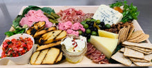 Load image into Gallery viewer, Cheese & Charcuterie Platter • 3 Cheeses, 2 Salamis, Prosciutto di Parma, Caponata, Topping, Olives, Dried Fruit, Crackers & Bread