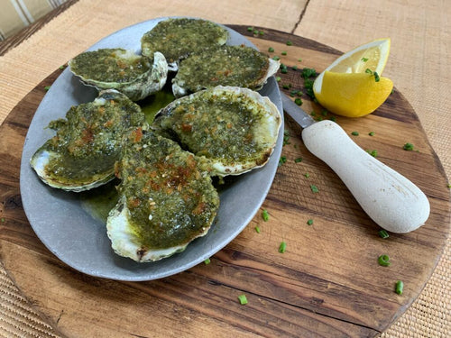 Montauk Pearl Oysters - Green Garlic or Chorizo Butter (6