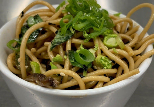 Sesame Noodles with Shiitake Mushrooms & Spring Vegetables