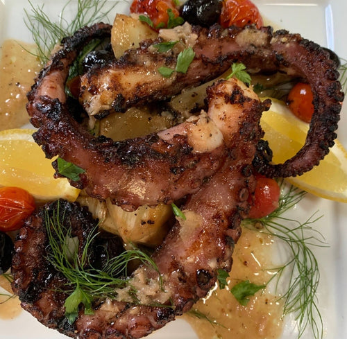 Grilled Marinated Octopus; Fennel Cucumbers Black Olives