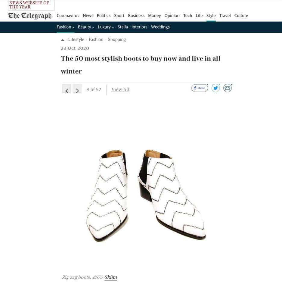 "Our Valmy Zig Zag Leather Ankle Boots featured in The Telegraph's ""50 Most Stylish Boots To Buy Now And Live In All Winter"""