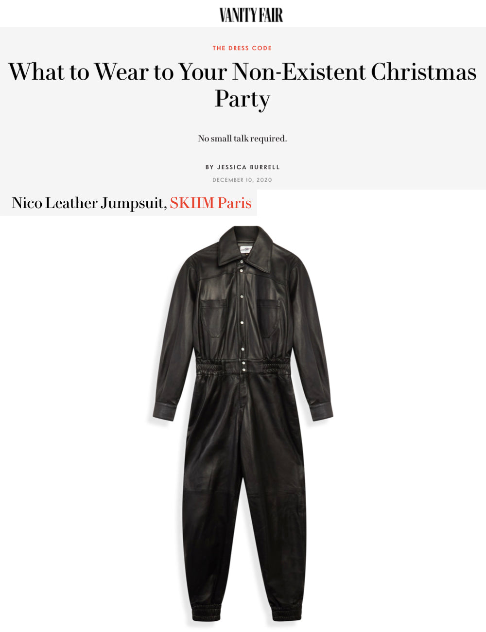 "Our NICO Jumpsuit featured in Vanity Fair's: ""What to wear to your non-existent Christmas party"""