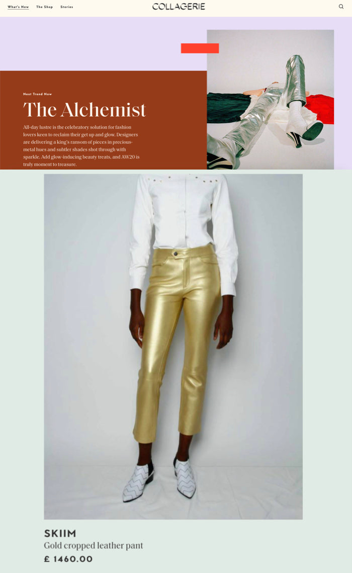 "Our Jean Cropped Leather Pant is featured in Collagerie for their metallic themed shopping edit ""The Alchemist""!"