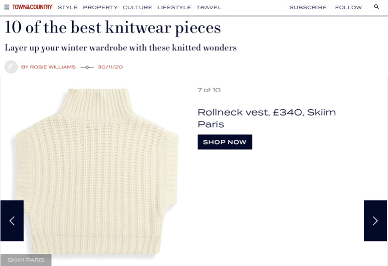 Our Roe Cashmere Vest featured in Town and Country's 10 of the best knitwear pieces!