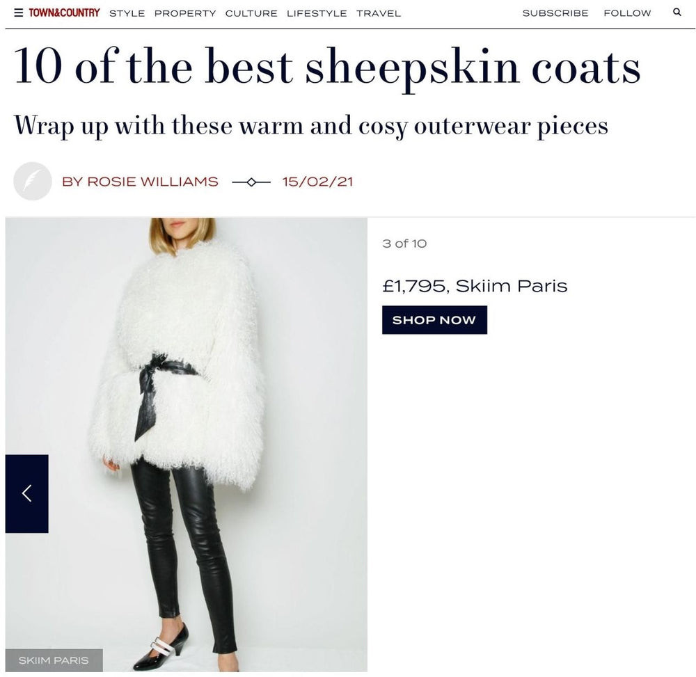 OUR JACKIE COAT FEATURED IN TOWN & COUNTRY'S TOP 10 SHEEPSKIN COATS