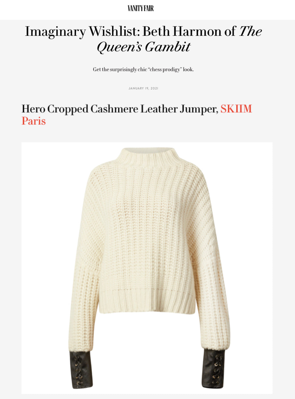 "OUR HERO CASHMERE JUMPER FEATURED IN VANITY FAIR'S: ""Imaginary Wishlist"" Series"