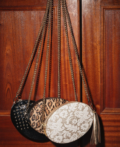 Cross body bag leather leopard print gold chain