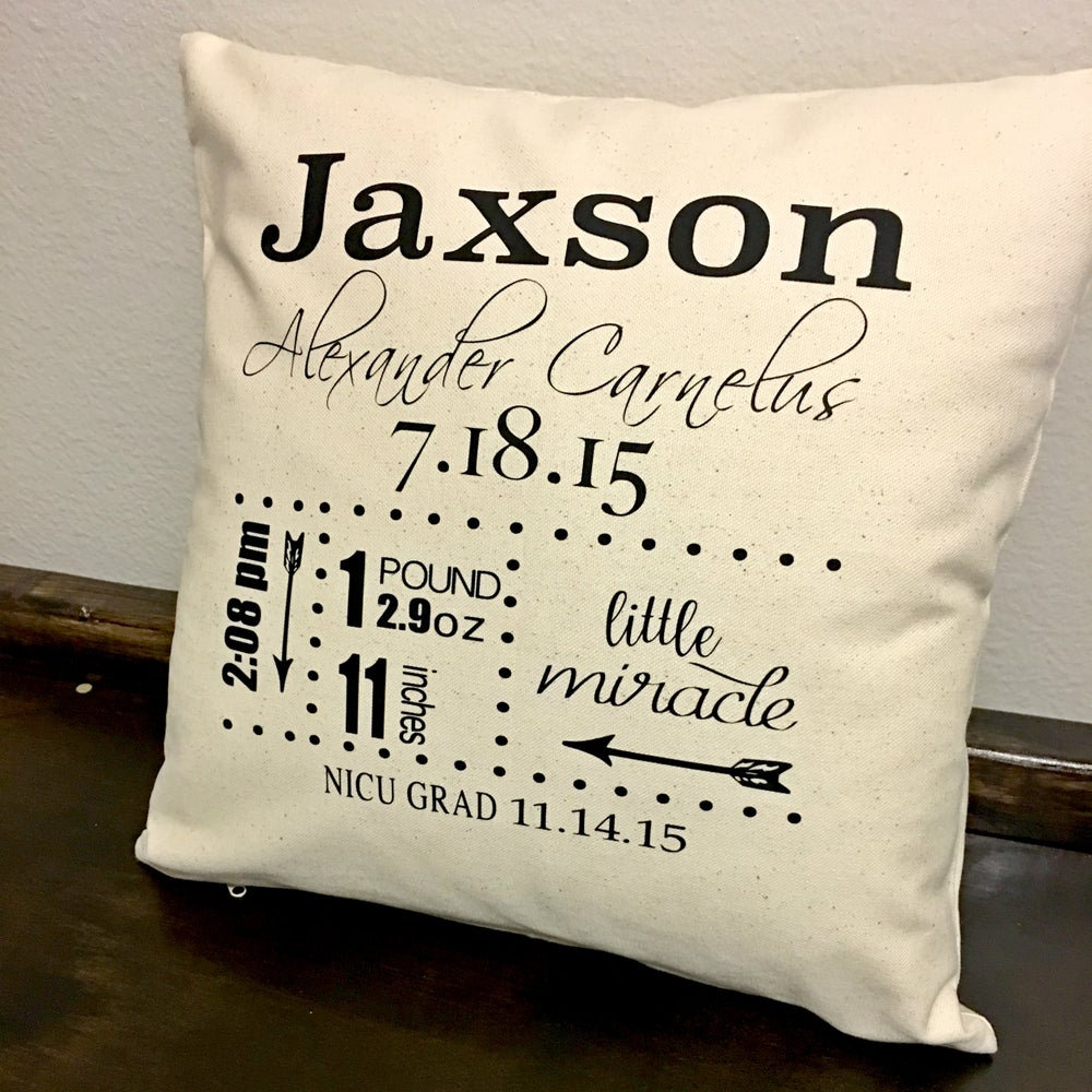LITTLE MIRACLE BIRTH STATS PILLOW COVER