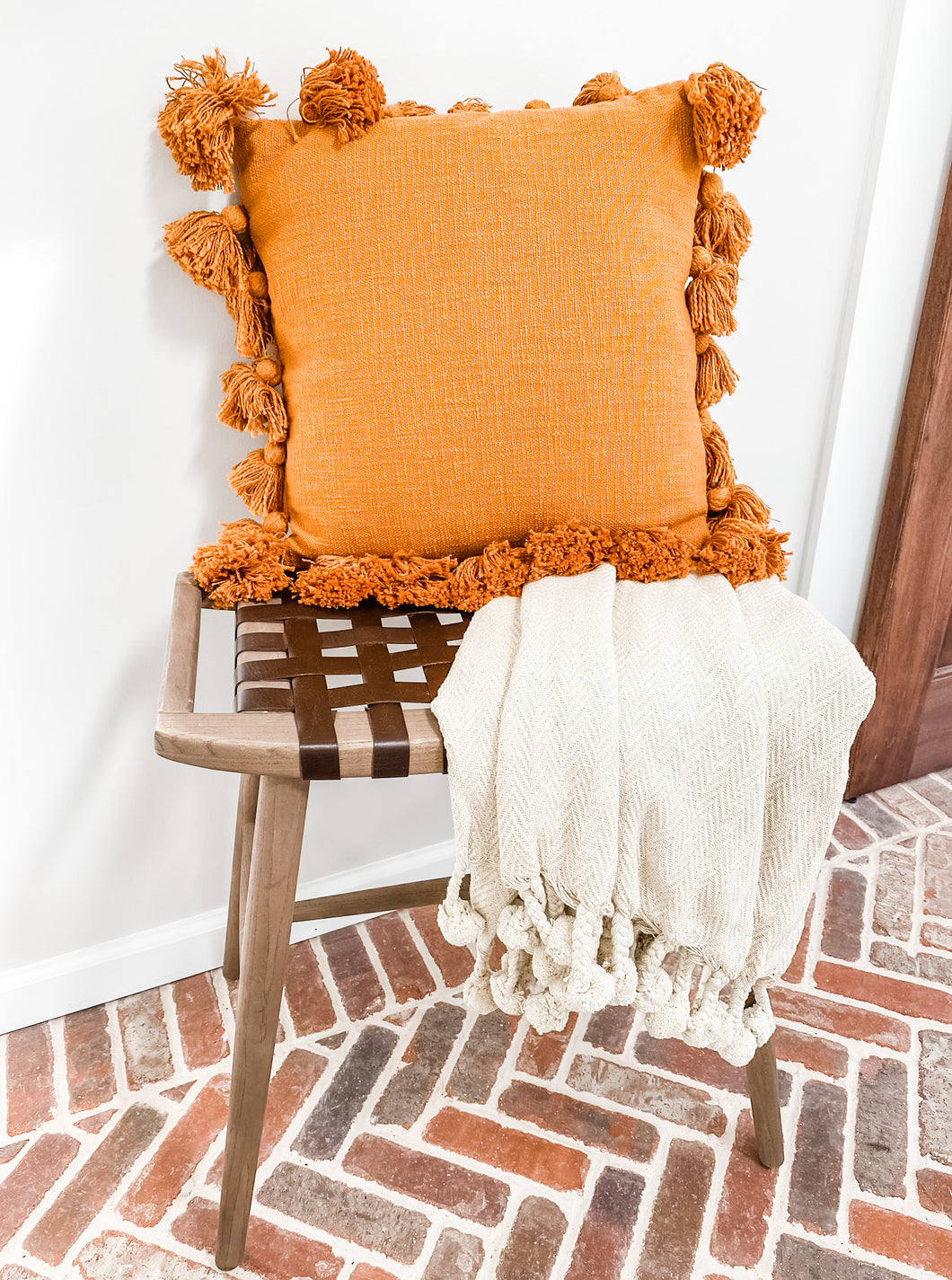 Tassel Throw Pillow in Orange - Leyland Blue