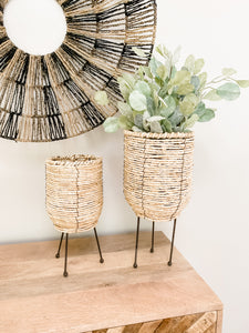 Wicker Basket With Legs - Leyland Blue
