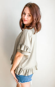 Ruffle Top In Olive - Leyland Blue