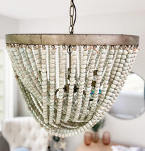 Load image into Gallery viewer, Ria Beaded Chandelier in Aqua - Leyland Blue