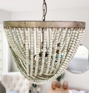 Ria Beaded Chandelier in Aqua - Leyland Blue