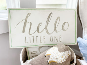 """Hello Little One"" Wood Sign - Leyland Blue"