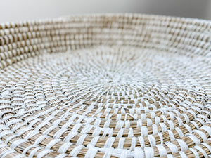 Large Natural/White Wicker Basket - Leyland Blue