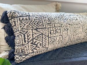 Black & White Patterned Lumbar Pillow - Leyland Blue