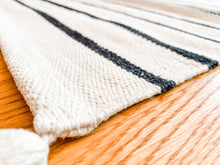 Load image into Gallery viewer, Cream & Black Stripe Runner - Leyland Blue
