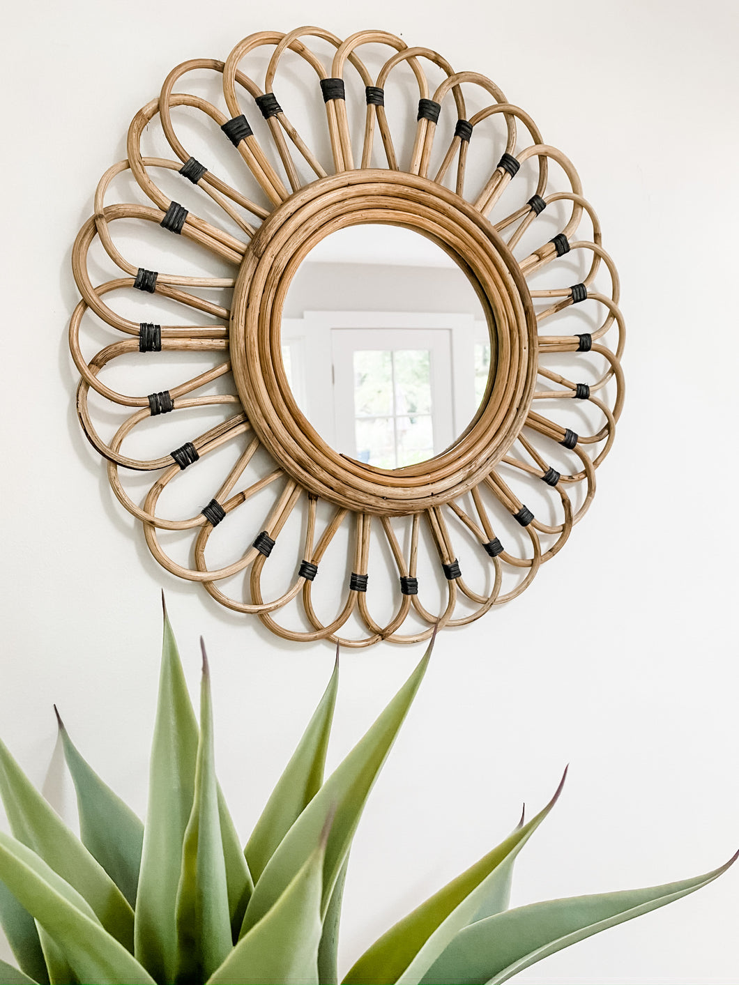 Bamboo Mirror With Black Accents