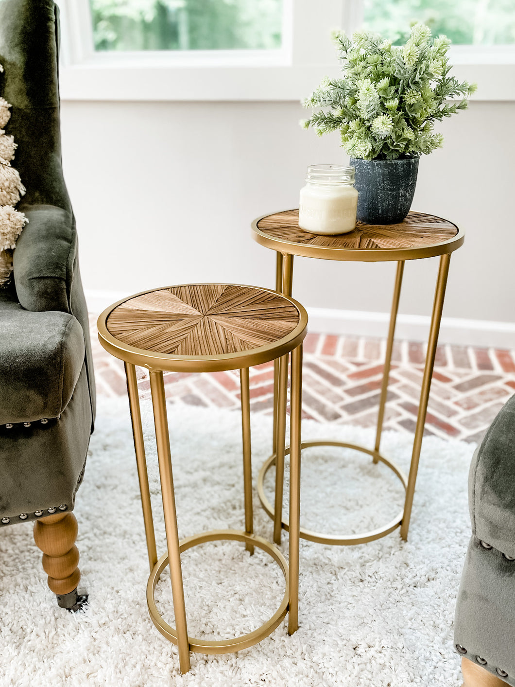 Gold & Wood Nesting Tables (Local Delivery Only)