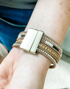 Magnetic Stack Leatherette Bracelet